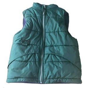 Boy's Green Zipper Front Reversible Puffer Vest 6